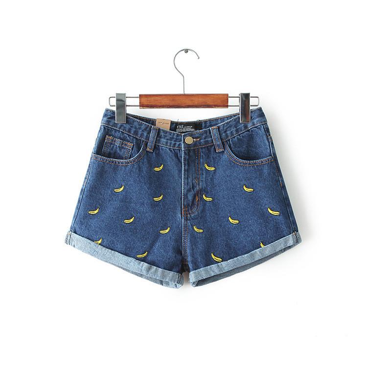5e170fbe Krótkie szorty damskie jeansowe wysoki stan wzorki