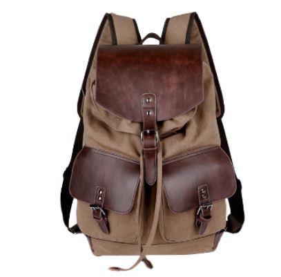 c65e0180cf4ca Płócienny plecak z ekoskórą na podróż do szkoły unisex Fitsu