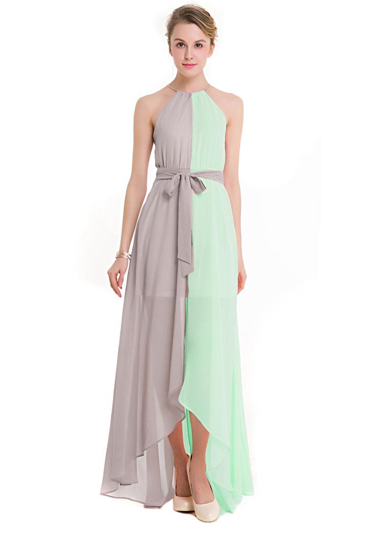 Sukienka Dwukolorowa Asymetryczna Szyfonowa Glamour Na Wesele Fitsu