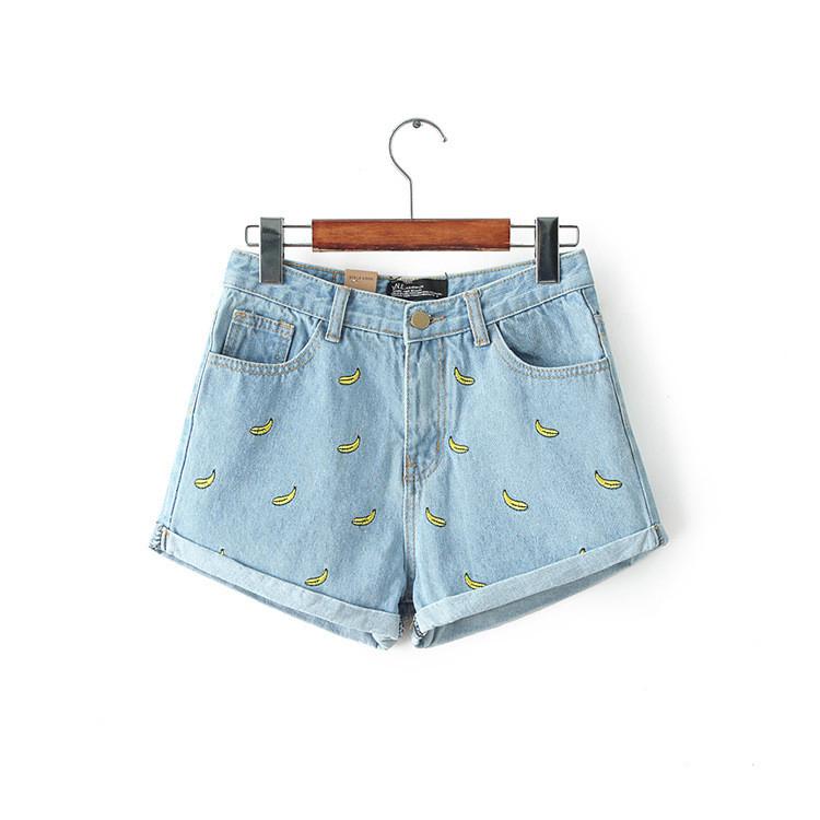 54bda255 Krótkie szorty damskie jeansowe wysoki stan wzorki Fitsu