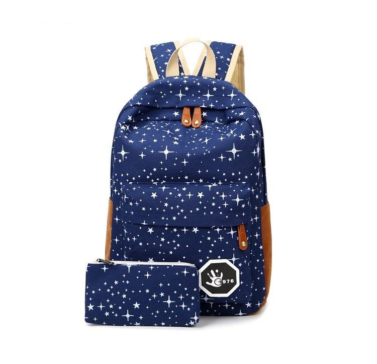 9eb8c2373e79d Szkolny plecak z piórnikiem w gwiazdy młodzieżowy