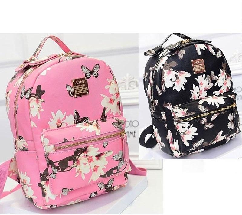 66e525205b436 Szkolny damski plecak w kwiaty ekoskóra Fitsu