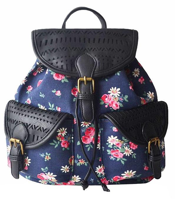 516c38166028e Plecak szkolny damski z grubego płótna w kwiatki